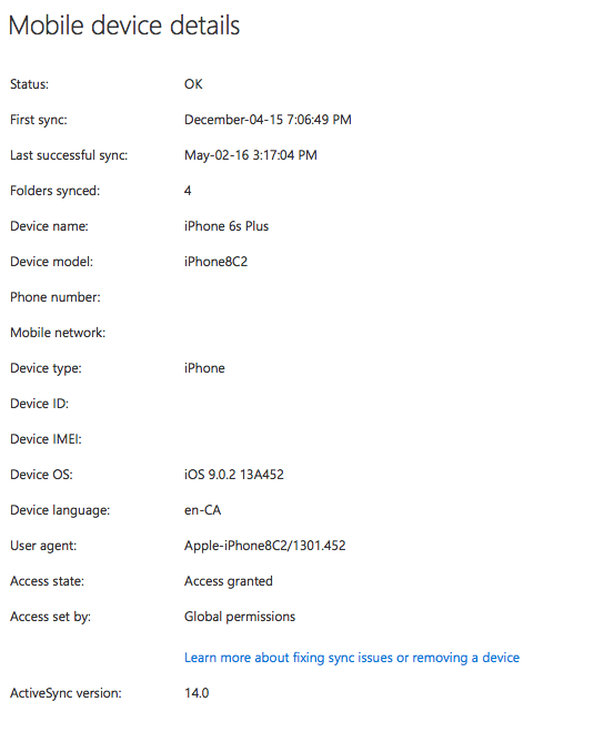iPhone Mobile Device Details